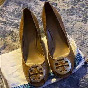 Tan Tory Burch Peep Toe Wedges with Gold Logo
